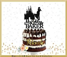 Fairytale Mr & Mrs Cake Topper, Wedding Cake Topper, Castle Wedding Cake Topper