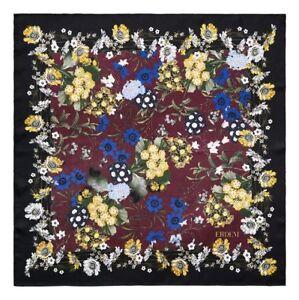 NEW Large 31 x 31 ERDEM x H&M Floral 100% SILK Scarf Burgundy floral Black BAG