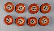 LOT DE 8 BOUTONS VINTAGE  orange et blanc diamètre 16mm