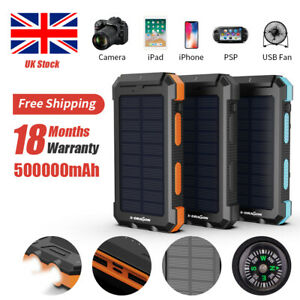 UK 500000mAh Solar Power Bank Waterproof 2USB LED Battery Charger For Cell Phone