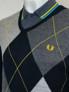 Fred Perry   Merino Wool Argyle Print V-Neck Jumper L (Black) Mod Scooter 60s