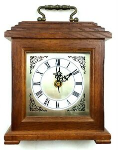 RUNs Vtg Seiko Wooden Quartz Clock QHG301BCH Mantel Shelf Desk Japanese Movement