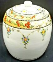 Japanese Nippon ? Hand Painted Floral Moriage Ginger Jar with Lid