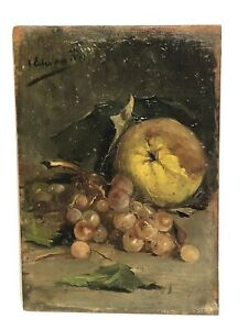 19Th Century Spanish Still Life Oranges And Grapes Signed Upper Left