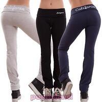 Pantaloni donna tuta elasticizzati scritta sport fitness cotone nuovi T841