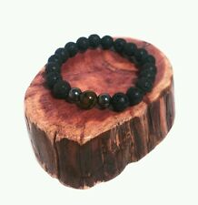 MEN MAN GUY BLACK LAVA HEMATITE GREEN DRAGON VEIN EYE BEAD WRIST BAND BRACELET
