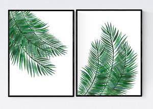 Set of 2 Palm Leaves Prints - Tropical Leaves Print, Botanical Print