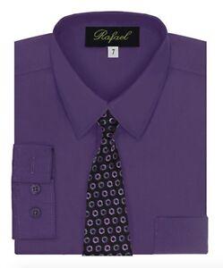 Boy's Dress Shirt & Tie Set Long Sleeve- Many Colors Available
