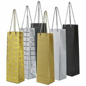 6 Pack Wine Bottle Gift Bags Foiled Glitter Handles for Wedding Birthday Parties