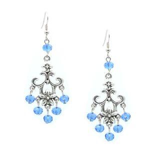 Chandelier Silver Drop Blue Crystal Filigree Earring