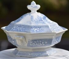 Antique Gem Pearlware Staffordshire Footed Lidded Bowl Blue White Transferware