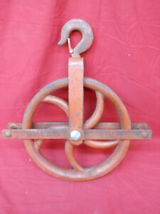 "Old Well & Barn Pulley LARGE 12"" Wheel Heavy Duty Iron Vintage Rustic Industrial"