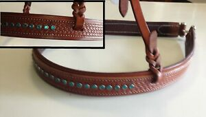 New Basketwave tie-down with turquoise studs full sz western tie-down noseband