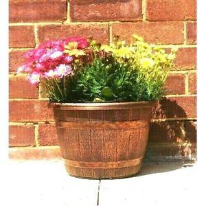 2 XL COPPER Wooden Barrel Plant Pot Outdoor Garden Flower Round Plastic Planter