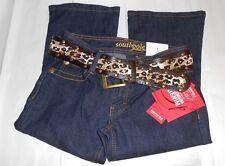 South Pole Junior Low Rise Boot Cut Denim Jeans + Belt Super Blue Three (3) NWT