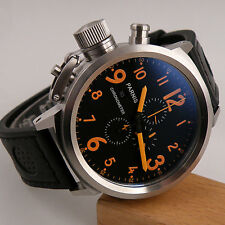 50mm Parnis orange number big face black dial mens quartz WATCH chronograph P014