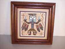"Navajo Framed Sand Painting w/ Female Yei Figure by John Benally 5"" x 5"" NEW"