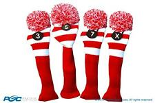 3 5 7 X Classic RED WHITE KNIT POM golf club Headcover vintage Head covers Set