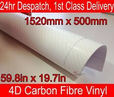 4D carbone Fibre vinyle Wrap Film feuille blanche 500mm(19.7in) x 1520mm(59.8in)