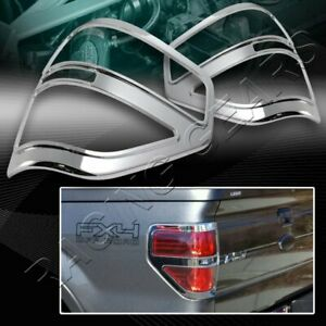 FOR FORD F150 PICKUP TRUCK CHROME ABS PLASTIC TRIM BEZEL REAR TAIL LIGHT COVERS