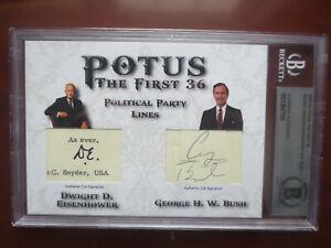 President Eisenhower / Bush 2020 Historic Autographs POTUS Cut Auto Beckett BAS