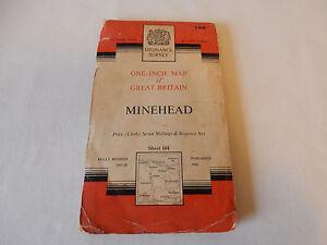 Ordnance Survey One-Inch Map of Great Britain - Minehead (Sheet 164) 1960 Good