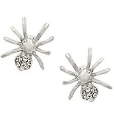 Black Widow Spider Fashionable Earrings - Stud - Sparkling Crystal