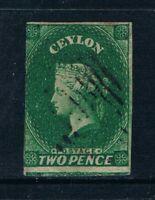 Ceylon - 1857-59 - 2d QV Green - Imperf - Wmkd Large Star -SC 4 [SG 3] - USED W5