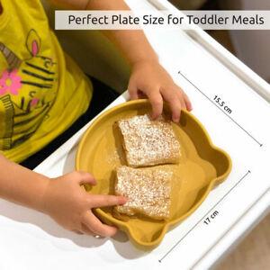Baby & Toddler Suction Plate Non-Slip Kids Tableware, BPA Free Silicone Mustard