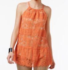 Alfani Lace Peplum Halter Top Brushed CORAL Orange Nude Lining Size 10