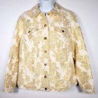 Laura Ashley Gold Metallic Womens M Jean Jacket Floral Cream Lined Brocade
