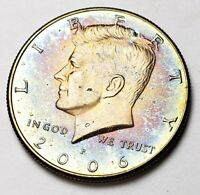 2006-P KENNEDY HALF DOLLAR BU UNC BEAUTIFUL RAINBOW COLOR TONED GEM