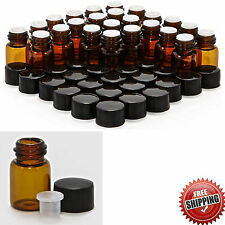 Amber Glass Bottles 2 ml Small Round Empty 24 Lot Essential Oil With Black Caps