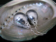 Silver Plated Hook HUGE GREY Teardrop Drip Seashell Pearl Earrings Australia153
