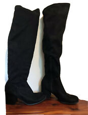 Christian Siriano Over The Knee Block Heel Boots Size 8 Black Faux Suede Stretch