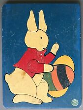 [Judy Toys]    19 Piece Wooden Easter Bunny Puzzle   Minneapolis   Circa 1950