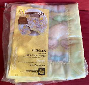 Vtg BEACON Giggles Virgin Acrylic Baby Blanket Satin Trim Pastel Bunny Sun NEW