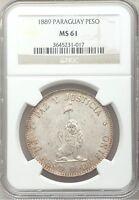 SCARCE 1889 Paraguay Peso silver NGC MS61 BU UNC Uncirculated reales Republic