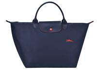 LONGCHAMP PARIS LE PLIAGE Club Short Handle Medium Tote Blue Red Trim Bag NEW
