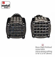 Men's 3D Oval Square Screw Back Hip Hop Earrings Pave Black CZ Hand Set 978 3T