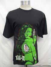 "Men's 2XL Black Screened ""Kill It"" Green Skeleton Chick T Shirt  A15"