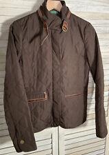 Lauren Ralph Lauren Women's S Brown Quilted Jacket Equestrian Print Leather Trim