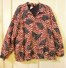 TAPESTRY Women Size 2X Red/White/Blue Patriotic Print Full Zip Poly Lined Jacket