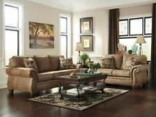 Traditional Rustic Microfiber Sofa Couch Loveseat 2 pieces Living Room Set IG3P
