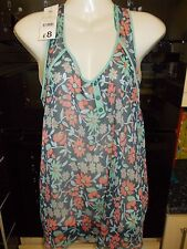 George V Neck Floral Sleeveless Tops & Shirts for Women