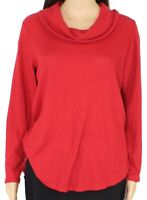 Style & Co. Women's Top Red Size 1X Plus Waffle Knit Cowl Neck Thermal $44 #008