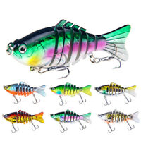 3D Eyes 7 Jointed Sections Lure Fishing Crankbait Hard Bait Fish Hook Tackle-