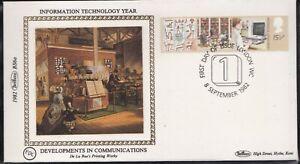 BS6.82) GB, Benham Silk Cover 1982, Set of 2, Information Technology Year, Commu