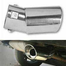 1x Universal Stainless Steel Car Rear Round Exhaust Pipe Tail Muffler Tip Chrome