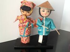 1950s Chinese Asian Man Woman holding Baby Handmade Dolls Rice Farmer Coolie Hat